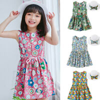 Toddler Baby Dress Kids Girls Floral Flowers Princess Dresses+Hat Outfits