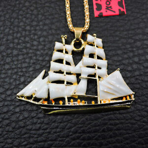 Betsey Johnson Sailboat White Enamel Cute Pendant Sweater Chain Necklace