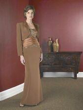 NWT $640 La Belle Mother formal evening crepe short train Dress & jacket brown4