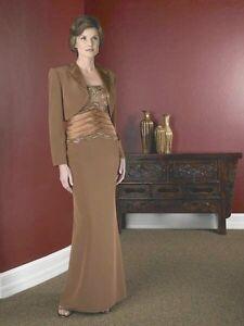 NWT La Belle Mother formal evening crepe short train Dress & jacket brown 4