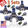 3 Sets 80000LM T6 LED Zoomable Headlight Headlamp  Lamp+18650 battery+Charger US