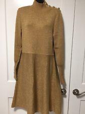 INC Gold long sleeve, turtle neck dress, SZ XL, fits L