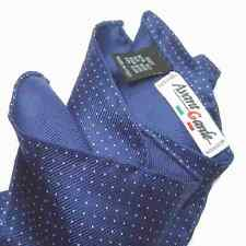 POCHETTE uomo SETA blu POIS bianco Fazzoletto da tasca per GIACCA MADE ITALY