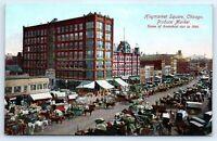 Postcard IL Chicago Haymarket Square Produce Market Vtg View Horses Carts F9