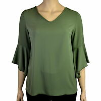 PLUS SIZE KHAKI GREEN CREPE RUFFLE BELL SLEEVE BLOUSE TOP Sizes 16 20 and 22