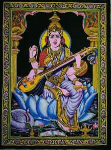 Sequin Wall Hanging Goddess Laxmi Poster Tapestry Home Decoration Living Room