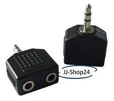 Audio Y Adapter Klinke Stecker 3,5mm auf 2x Klinkenbuchse Stereo schwarz NEU