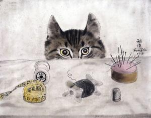 "Couturier Cat  by Tsuguharu Foujita  14""  Paper Print Repro"