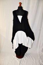 MYO-Lagenlook A-Linie-Top-Tunika-Kleid TASCHEN schwarz-weiss 44,46,48,50,52