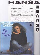 """Melanie Sanders, Ich will die Nacht, Promo Info, EX/EX+ 7"""" Single 0877-7"""