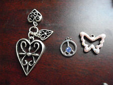 Lot of 3 COOL Silver Tone Metal  Pendants Butterfly Hearts Peace Sign LOOK