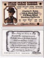 Black Bart STage Coach Robber Stockton California Drivers License fake id card