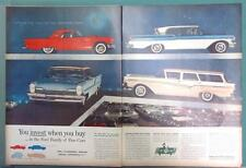 Orig 1957 Ford Car Ad YOU INVEST WHEN YOU BUY IN THE FORD FAMILY OF FINE CARS