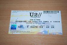 U2 - RARE 2005 VERTIGO TOUR TICKET STUB, STADE DE FRANCE 10th JULY