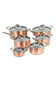 Lagostina Copper Hand Hammered Design Cookware Set, 12-pc NEW IN BOX !!!!!