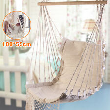 Outdoor Canvas Swing Hanging Hammock Cotton Rope Tassel Tree Chair Seat Patio