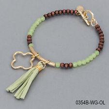 Brown Wood Green Faceted Seed Beaded Tassel Gold Charm Bangle Bracelet