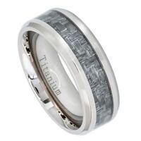 Titanium Ring Charcoal Gray Carbon Fiber Inlay Beveled Edge Wedding Band 7-13