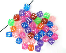 100pcs Acrylic Dice Spacer Beads Mixed Transparent 9x9mm