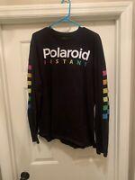 Polaroid Mens Black Long Sleeve Graphic T Shirt Tee Camera Adult XL