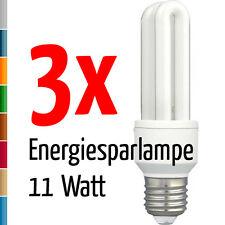 3 x Energiesparlampe H+H 11 W 11 Watt E27 Bauform 2U warmweiß dimmbar NEU