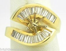 Striking 14k Yellow Gold 1.39 Cts. Baguette Diamond Semi Mount