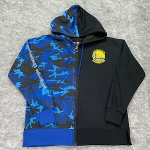 Golden State Warriors Hoodie Men L Blue Camouflage Sweatshirt Black Solid Half