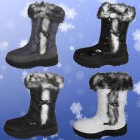 NEW WOMENS LADIES CALF FUR FLAT MOON SKI WINTER WATERPROOF SOLE SNOW BOOTS SIZE
