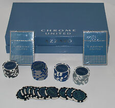 Azzaro Chrome United Poker Set, 50 chips and 2 Decks of Cards Brand New In Box
