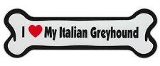 Dog Bone Shaped Car Magnets: I LOVE MY ITALIAN GREYHOUND GRAYHOUND
