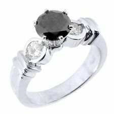 1.5 CARAT WOMENS BLACK DIAMOND ENGAGEMENT RING BRILLIANT ROUND CUT WHITE GOLD