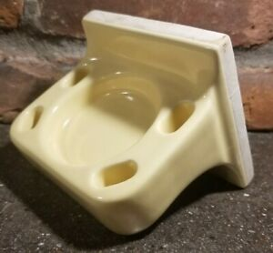 Vintage Light Yellow Ceramic Wall Mount Toothbrush Cup Holder Retro Bathroom