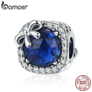 BAMOER .925 Sterling silver Charm Sapphire With CZ& Glass For Bracelet Jewelry