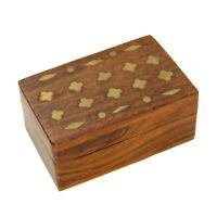 "3"" Miniature Wooden Trinket Box Chest Dark Brown Hinged Lid Brass Tone Accents"