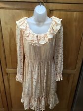 Vintage Jack Bryan Dupuis 8 M Peach Ruffle Lace Dress Fab!