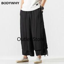 Spliced Cotton Linen Loose Casual  Pants Male Streetwear Chinese Skirt Trousers
