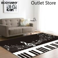 Nordic Style Carpets Piano Keyboard Notes Flannel Bed Room Floor Mat Carpet Rugs