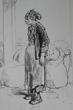 GAVARNI Lithographie originale série PHYSIONOMIES PARISIENNES - A LA HALLE FEMME