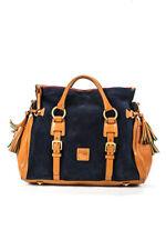 Dooney & Bourke Womens Leather Tassel Handbag Navy Brown