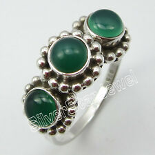 925 SOLID STERLING SILVER Genuine GREEN ONYX Ring Size 7.25 ! Fashion Jewelry