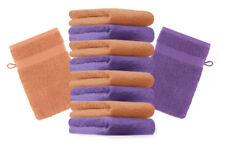 """10er Pack Waschhandschuhe """"Premium"""" Farbe: Lila & Orange, Größe: 17x21 cm"""