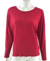 Coldwater Creek Top Size Medium Red Solid Dolman Sleeve Stretch Shirt Womens