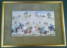 Ancienne superbe miniature peinture perse sur os.