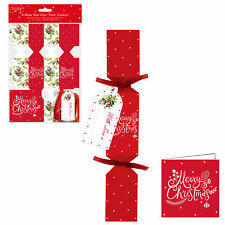 6 Pack Make your Own Treat Christmas Cracker Kit & Cards - Holly Design