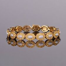 Yellow Sapphire and Diamond Link Bracelet in 18k Yellow Gold