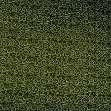 Delicate White Scrolls on Moss Green, An ITB Jason Yenter Design, Cotton, BTHY