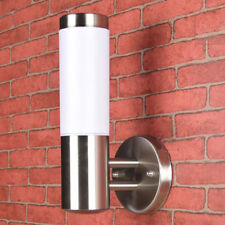Outdoor wall light Stainless steel + White Plastic Shade outdoor E27 porch lamp
