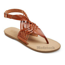 Womens Mossimo Supply Johanna Brown Ankle Strap Thong Sandals NWOB C185