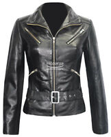 Ladies Fashion Leather Jacket Black Biker Style 100% Real Lambskin Leather 7390