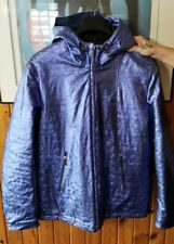 USED VERSACE JEANS SILVER BLUE JACKET SIZE US LARGE HOODED